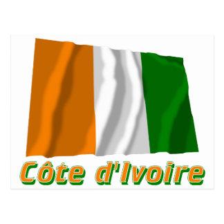 Français de Drapeau Côte d'Ivoire avec le nom en Postal