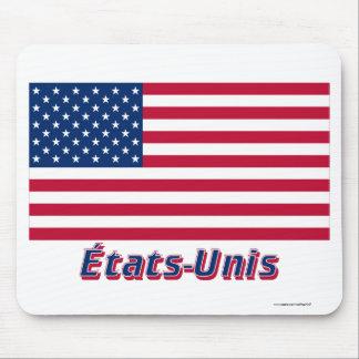 Français de Drapeau États-Unis avec le nom en Alfombrillas De Ratones