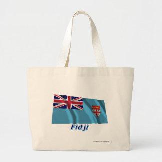 Français de Drapeau Fidji avec le nom en Bolsa Tela Grande