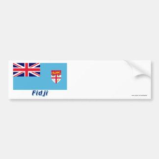 Français de Drapeau Fidji avec le nom en Pegatina Para Auto