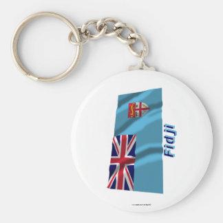 Français de Drapeau Fidji avec le nom en Llavero Redondo Tipo Pin