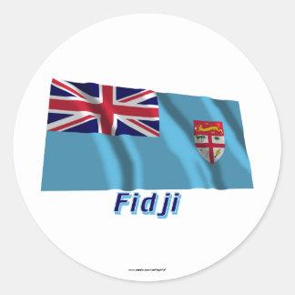 Français de Drapeau Fidji avec le nom en Pegatina Redonda