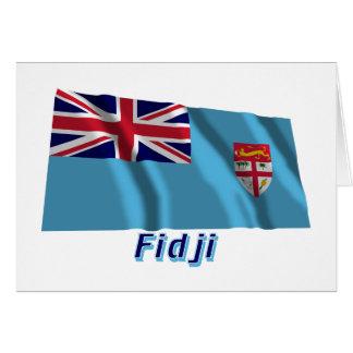 Français de Drapeau Fidji avec le nom en Tarjeta De Felicitación