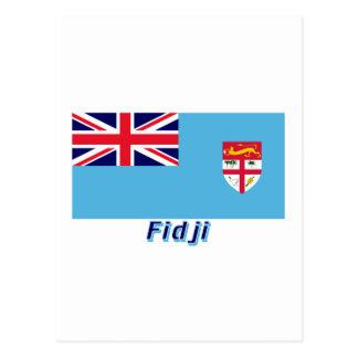 Français de Drapeau Fidji avec le nom en Postal
