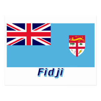 Français de Drapeau Fidji avec le nom en Tarjetas Postales