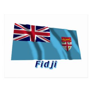 Français de Drapeau Fidji avec le nom en Tarjeta Postal