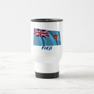 Français de Drapeau Fidji avec le nom en Taza De Viaje De Acero Inoxidable