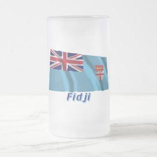 Français de Drapeau Fidji avec le nom en Taza Cristal Mate