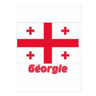 Français de Drapeau Géorgie avec le nom en Postal
