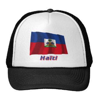 Français de Drapeau Haïti avec le nom en Gorras De Camionero