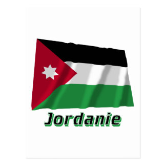 Français de Drapeau Jordanie avec le nom en Postal
