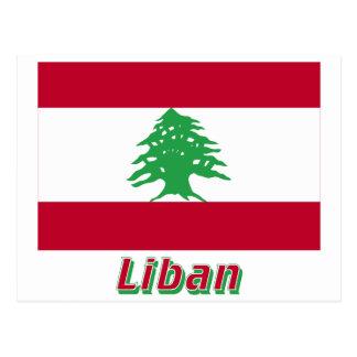 Français de Drapeau Liban avec le nom en Postal