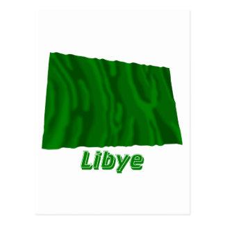 Français de Drapeau Libye avec le nom en Postal