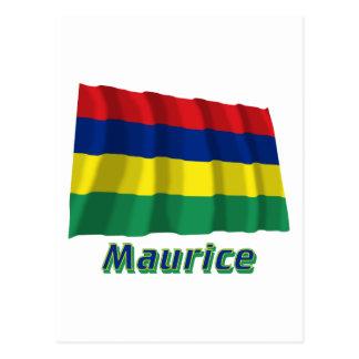 Français de Drapeau Mauricio avec le nom en Postal