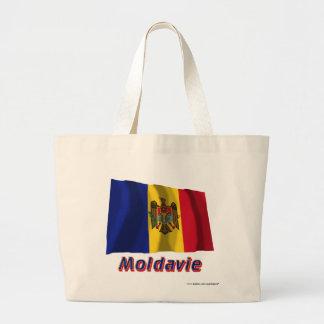 Français de Drapeau Moldavie avec le nom en Bolsa De Mano