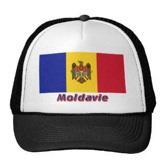 Français de Drapeau Moldavie avec le nom en Gorro De Camionero
