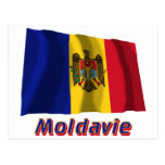 Français de Drapeau Moldavie avec le nom en Tarjeta Postal