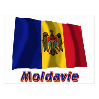 Français de Drapeau Moldavie avec le nom en Postal