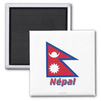 Français de Drapeau Népal avec le nom en Imán Cuadrado