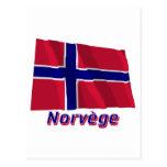 Français de Drapeau Norvège avec le nom en Tarjeta Postal