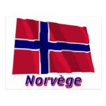 Français de Drapeau Norvège avec le nom en Postales