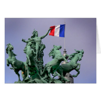Français de Drapeau - postal de Paris4 Tarjeta De Felicitación