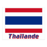 Français de Drapeau Thaïlande avec le nom en Tarjeta Postal
