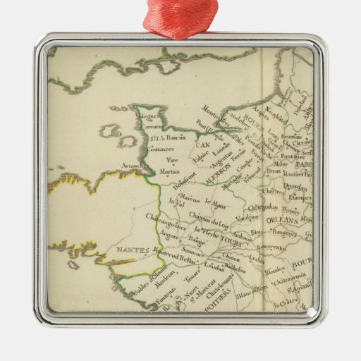 France 37 square metal christmas ornament