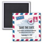 France Air Mail Wedding Save the Date Fridge Magnets