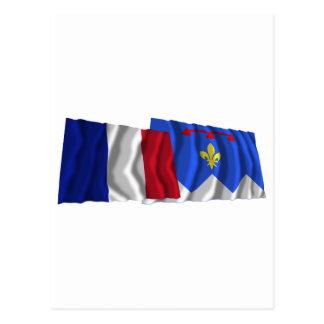 France & Alpes-de-Haute-Provence waving flags Postcard