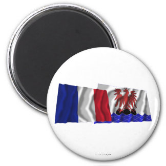 France & Alpes-Maritimes waving flags 2 Inch Round Magnet