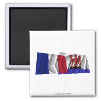 France & Alpes-Maritimes waving flags 2 Inch Square Magnet