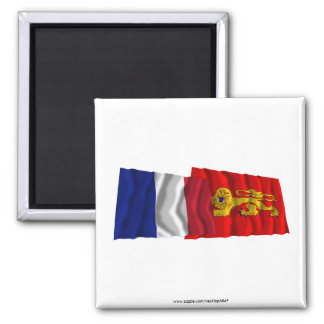 France & Aquitaine waving flags Fridge Magnets