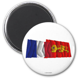 France & Aquitaine waving flags Magnet