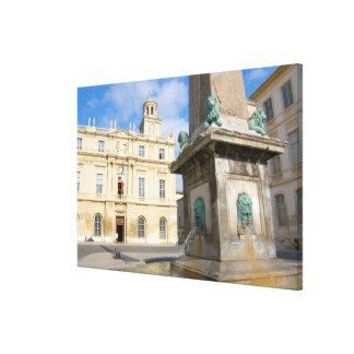 France, Arles, Provence, Place de la Stretched Canvas Print