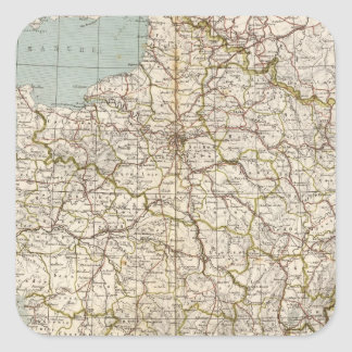 France Atlas Map Square Sticker