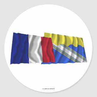 France & Aube waving flags Classic Round Sticker