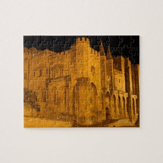 France, Avignon, Provence, Papal Palace at night 2 Jigsaw Puzzle