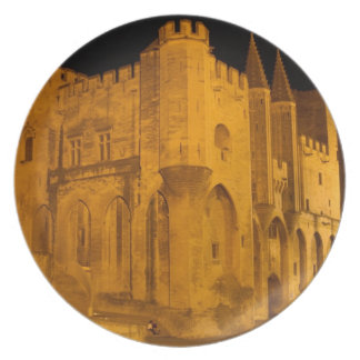 France, Avignon, Provence, Papal Palace at night 2 Plates