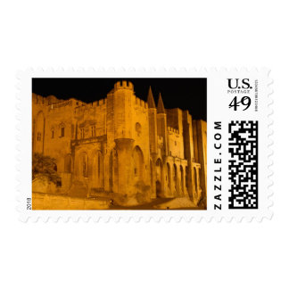 France, Avignon, Provence, Papal Palace at night 2 Postage Stamps