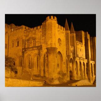 France, Avignon, Provence, Papal Palace at night 2 Poster