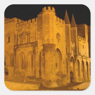France, Avignon, Provence, Papal Palace at night 2 Square Sticker