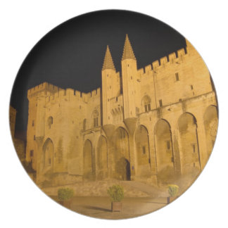 France, Avignon, Provence, Papal Palace at night Dinner Plate