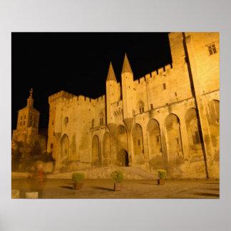France, Avignon, Provence, Papal Palace at night Poster