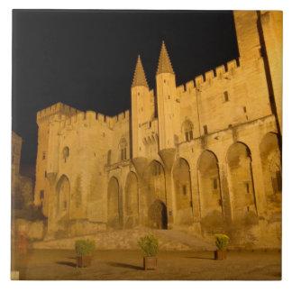 France, Avignon, Provence, Papal Palace at night Large Square Tile