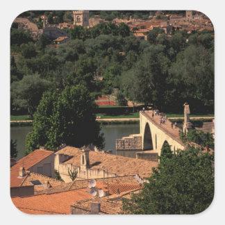 France, Avignon, Provence. Pont St, Benezet. Square Sticker