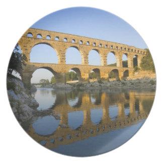 France, Avignon. The Pont du Gard Roman aqueduct Plate