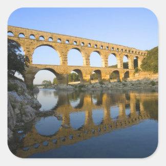 France, Avignon. The Pont du Gard Roman aqueduct Square Sticker