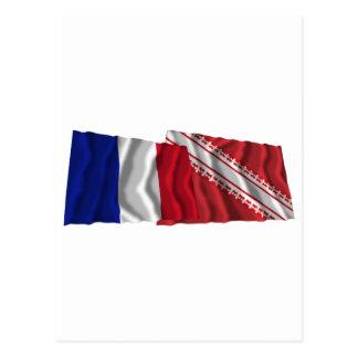 France & Bas-Rhin waving flags Postcards