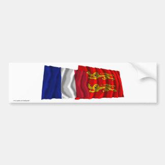 France & Basse-Normandie waving flags Car Bumper Sticker